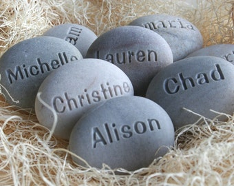 Personalized engraved gift stones - set of 2 Custom engraved name stones by sjEngraving