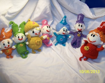 Crochet Notekins inspired They also rattle You can buy one or the set the set of 7 takes LONGER to make