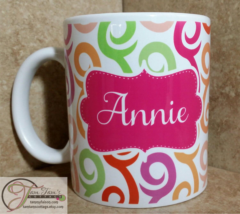Swirl Design Coffee Mug Personalized Name Mug Custom Mug