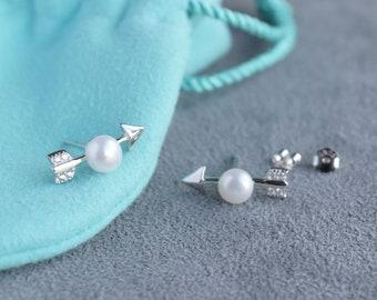 Arrow Pearl Earrings || Silver Stud Earrings || Delicate Earrings || Minimalist Earrings || Gift Earrings for Best Friends, Sisters, Mom