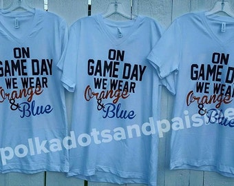 Women's On Game Day We Wear Orange & Blue Tee
