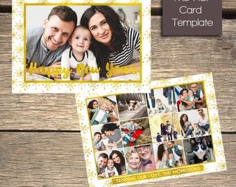 Happy New Year - Year in Review Holiday Card - 7x5 Photoshop Template - INSTANT DOWNLOAD