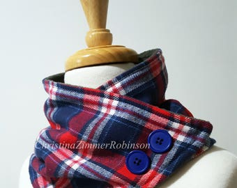 Red White and Blue Plaid Neck Warmer Scarf, Gray Fleece Lined, Attaches with Snap, Blue Buttons, Neck Wrap, Collar, Scarves, Neckwarmer