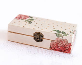Wooden Jewelry Box Handmade Decoupage Beige Storage Box With Red Roses And Copper Dots For Home Decor