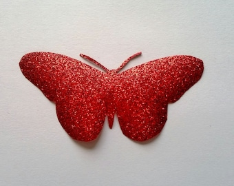 Applied fusible small shiny red flex Butterfly