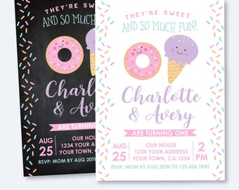 Donut and Ice Cream First Birthday Siblings Invitation, Sprinkles Invitation, Jointed Birthday Party, Personalized Invitation, 2 options