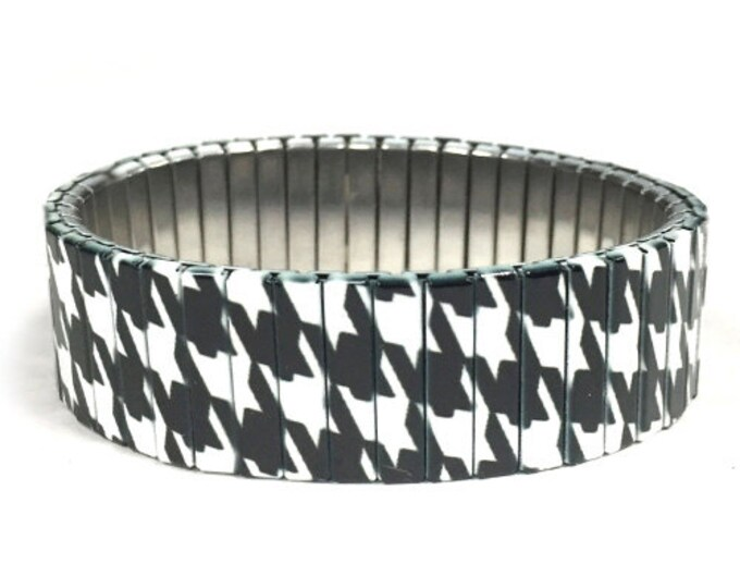 Houndstooth bracelet, Black and White, Stainless Steel, Repurpose Watch Band, Stretch Bracelet, Wrist Band, Sublimation, gift for friends