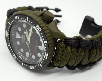 Seiko MOD 7S26 SKX007 OD Green Divers watch Cerakote military with hand crafted Paracord strap