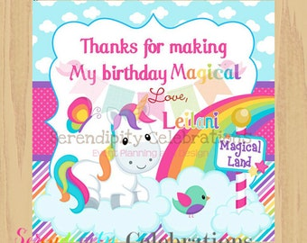 DIY Printable Favor Tags- Unicorn and Rainbows Tags -Gift Tags -Square Thank You Tags -School Treats -Stickers