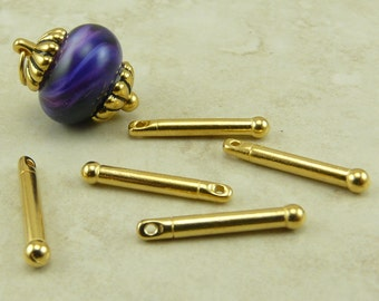 5 TierraCast 3/4 inch Bead Bars with Ball End * 22kt Gold Plated Lead Free Pewter - I ship Internationally 2240
