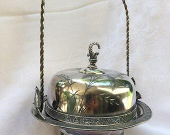 James W. Tufts Quadruple Plate Butter Basket, Serving Dish with Lid