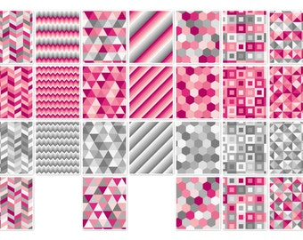 018 GEOMETRIC PINK-GREY digital paper pack for scrapbooking, albums, cards and crafts