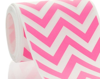 "3"" Hot Pink Chevron ZigZag Grosgrain Ribbon - 5yds"