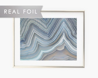 Blue Agate Formation Real Foil Art Print 11x14, 8x10, 5x7