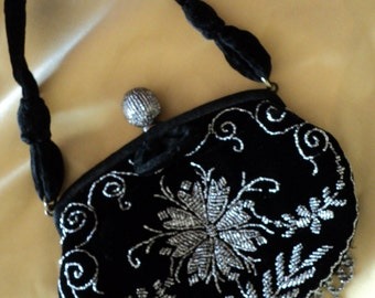 Vintage Beaded Velvet Purse Formal Evening Steel Cut Gatsby Era 1930 Silver and Black Original