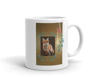 Fox & Flowers Ceramic Coffee Cup Mug Foxes Floral Fox Lovers