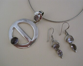 Amethyst Orbit Pendant and Earring Set, Silver Necklace Earrings, Natural Gemstone, Nest & Company
