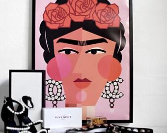 Modern Frida Kahlo Print | Frida Print | Modern Art Print | Fashion Frida Kahlo | Blush Art Print Feminine Art Print Modern Cubism Art Print