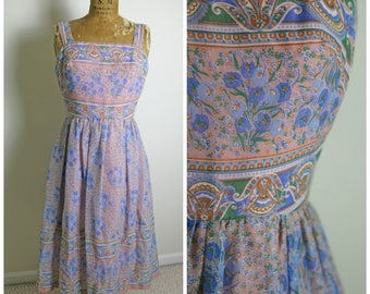 1970s Miss Elliette Floral Dress