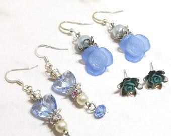 Rose Floral earring set of three (dark blues)