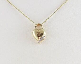 "14K Yellow Gold Diamond Heart Padlock Necklace 18 1/2"" Chain"