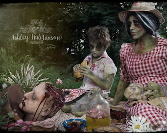 5x7 Signed Archival Print Zombie Girl Mom and Son Kid Having Picnic Demon Baby Severed Head Gore Weird Macabre Family Boy Two Headed Blood