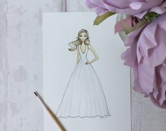 Custom bridal portrait illustration - (1 person)