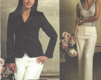 Anne Klein Womens Below Waist Jacket and Contour Waist Pants OOP Vogue Sewing Pattern V2957 Size 6 8 10 12 Bust 30 1/2 to 34 FF