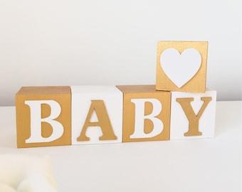 Gold Baby Shower Decor, Baby Name Blocks For Nursery, Gold Bedroom Decor, Montessori Bedroom, Wooden Alphabet Letters, Newborn Keepsake Gift