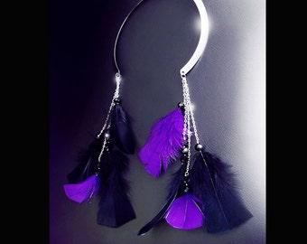 Feather necklace, boho necklace, cuff necklace, neck cuff, bohemian jewelry, vegan necklace, coachella necklace, purple and black, OOAK