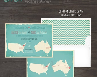 Destination wedding invitation Map Style Wedding Invitation Australia USA Two Countries, Two Hearts bilingual wedding DEPOSIT Payment