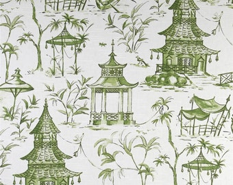 Two 20 x 20  Custom Pillow Covers -  Lacefield Chinoiserie Toile Pagodas Jade Green