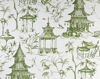 "Two 96"" x 50""  Custom Lined Curtain Panels -  Lacefield Chinoiserie Toile Pagodas Jade Green"