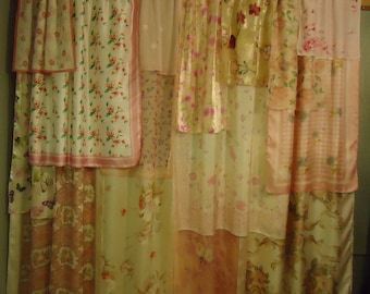 "Shades of White & Pink Gypsy Boho Curtains - 63"" long -Shabby Chic"