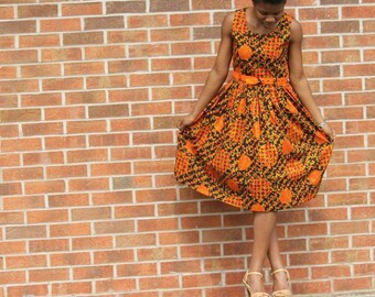 African Print Flare Dress