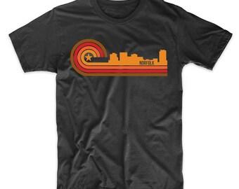 Retro Style Norfolk Virginia Skyline T-Shirt