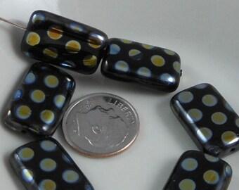 2 pcs Czech Glass Beads Large Flat Rectangle Black With AB Dots 19x12mm SRB-CP19x12-BAB