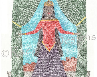 Queen Esther Micrography Print