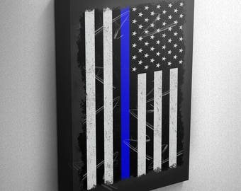 Thin Blue Line Police Officer Support Distressed American Flag Wall Art Canvas