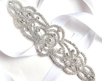 Sash - Art Deco Rhinestone Wedding Dress Sash - Silver Rhinestone Applique Bridal Belt Sash - Crystal Vintage Extra Wide Wedding Belt