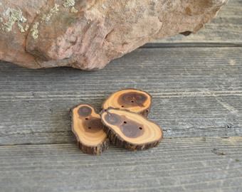 "3 long Juniper Wooden buttons- handmade buttons 2"" (5011)"
