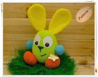 Crochet Bunny Pattern, Amigurumi Bunny PDF, DIY Bunny Toy, Crochet Bunny Tutorial, Amigurumi Rabbit PDF, Easter Bunny Pattern, Green Bunny