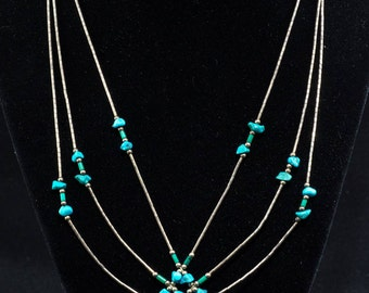 Vintage Turquoise and Plastic Spiderweb Necklace