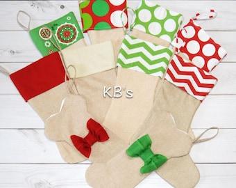 Custom Christmas Stockings - Personalized Stockings - Burlap Stockings - Family Stockings - Pet Stockings - Christmas Decor