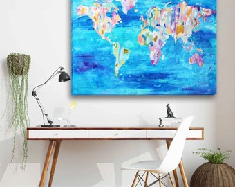 World Map, Painted World Map, Colorful World Map, World Map Art, Wall Art, World Map Decor, 24x30, Modern Art, Abstract Map, Original Art