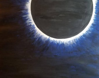Diamond Ring.2017 Eclipse 18x24 Original Painting Original Acrylic Hand Painted Art Sun Moon Love Nature Sky Anniversary Serenity