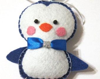 Felt penguin ornament, Felt Christmas ornament, Christmas decoration, Hanging penguin ornament, Felt penguin, Felt toy, Blue white felt toy