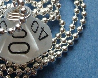 LEGACY D10 Die Pendant - Dungeons and Dragons - Pearl Percentage D10 RPG Gamer Geek DnD