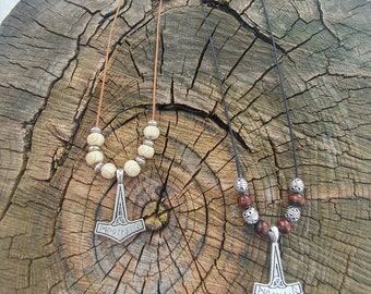 Thor's Hammer Necklace ~ Mjölnir ~ Beaded Necklace ~ Pagan Jewelry ~ Norse Jewelry ~ Norse Mythology ~ Pagan Charm