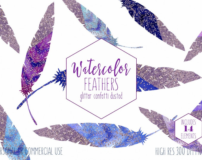 WATERCOLOR DIPPED FEATHERS Clipart Commercial Use Clip Art 14 Glitter Feather Graphics Blue & Purple Confetti Metallic Tribal Feather Images